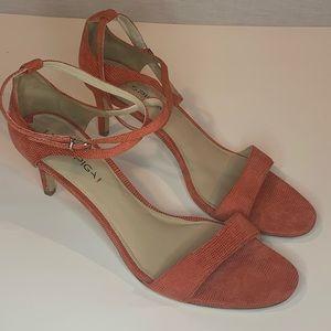 Via Spiga strappy orange heels